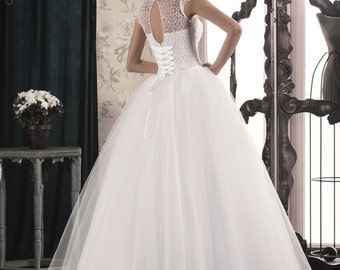 Elegant White/Ivory Lace, Tulle Wedding Dress that Features Illusion Neckline, Lovely Back A Line, Buy Online Wedding Gown