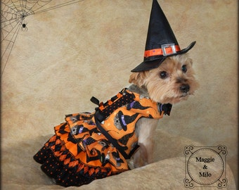 Dog Dress, Dog Costume, Halloween Dog Dress, Dog Clothing, Dog Witch Costume