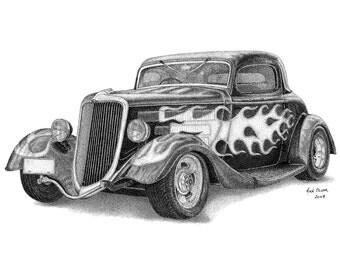 Canvas Art Print - Hot Rod stippling drawing