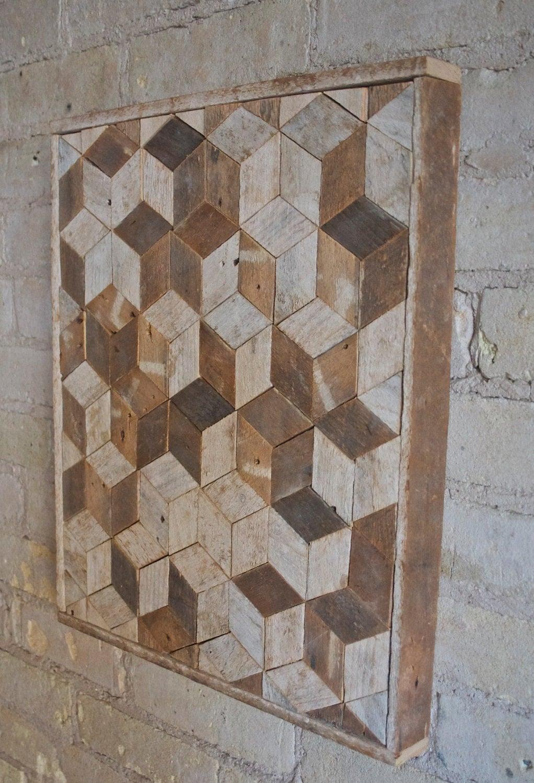 Reclaimed wood wall art decor pattern lath 3d cube geometric graphic pattern - Cube wall decor ...
