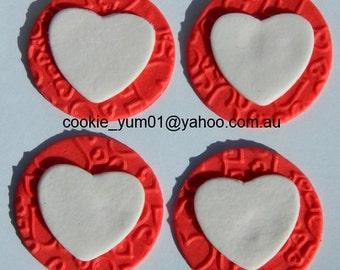 12 edible TEXTURED LOVE HEART embossed cake cupcake wedding topper decoration wedding anniversary birthday engagement valentine