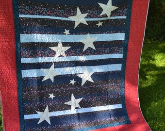 Red, White, and Blue, Stars and Strips Quilt  54x68