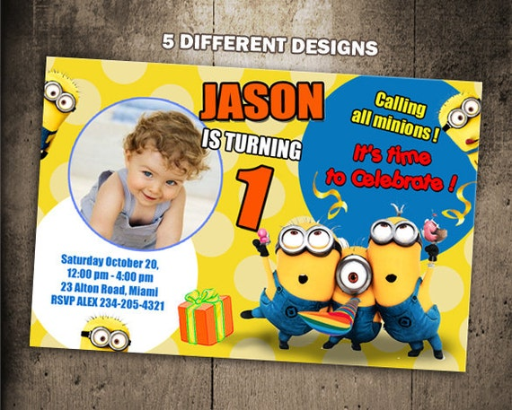 Minions birthday invitation party invite photo card printable