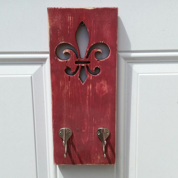 Aged Barn Red Fleur De Lis Wall Hanging W Hooks By