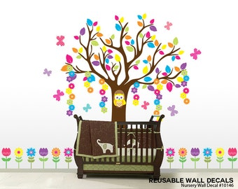 Nursery Wall Decals, Tree Wall Decals, Flower Wall Decals, Owl Wall Decals