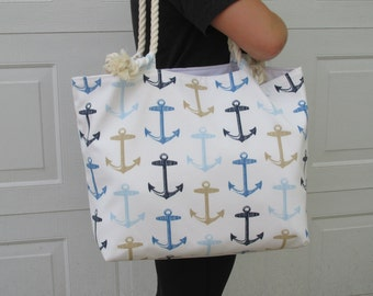 Nautical Anchors Large Beach Tote Bag Vacation Bag Monogram Tote Bag Rope Handles