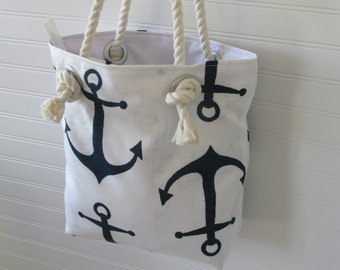 Nautical Purse Zippered Navy and White Rope Handles Handbag Small Tote Bag