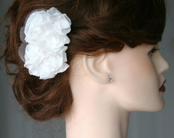 Double Peony White Flower Hair Accessory for Bride or Formal