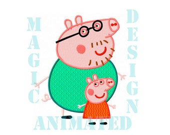 Peppa Pig Machine Embroidery Design in 4 sizes ---Instant download---