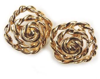 Vintage 1980s Circular Goldtone Metal Clip on Earrings