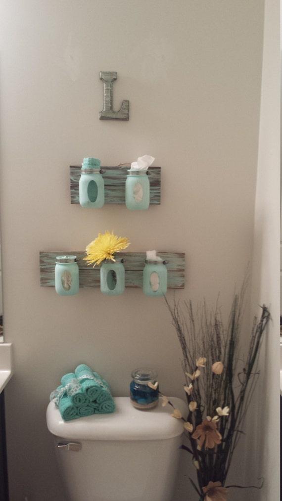 Items Similar To Distressed Mason Jar Bathroom Decor On Etsy