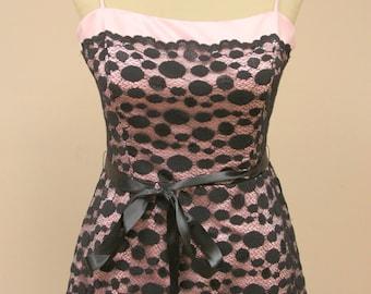 Vintage black lace evening dress - prom dress - short lace dress