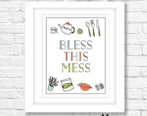 Bless This Mess Quote, Instant Download, Printable Wall Art Print, Digital Download, Wall Decor, Typography Quote, Kitchen Decor