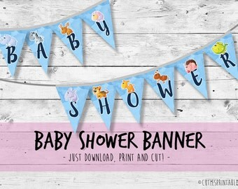 Welcome Baby BOY Shower Banner, Baby Shower Decorations - Printable / instant download