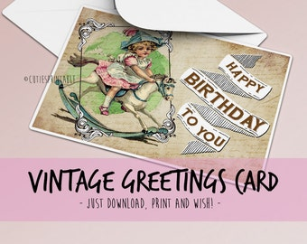 Greetings Card, Vintage Printable Cards, Thank you Cards - INSTANT DOWNLOAD / Best for paper craft, scrapbooking