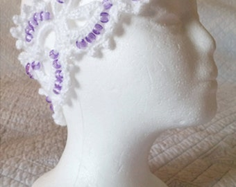 Handmade White Crochet Headband with Purple Beads