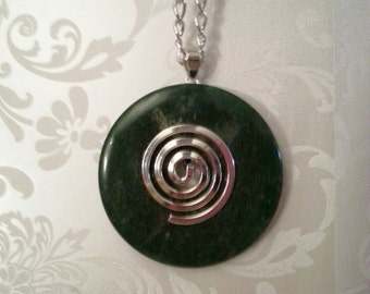 Green Stone Spiral Necklace