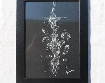 Water, black sheet, white pencil, handmade, original