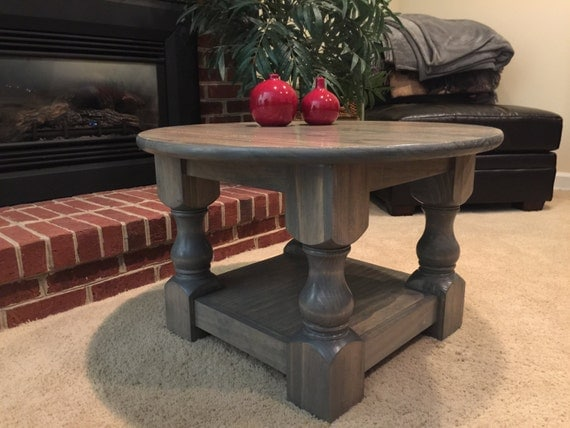 Small Round Rustic Side Tables: Round Coffee Table / Chunky Leg Table / Rustic By