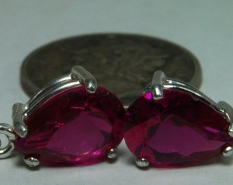 Lab pink sapphire dangle earrings