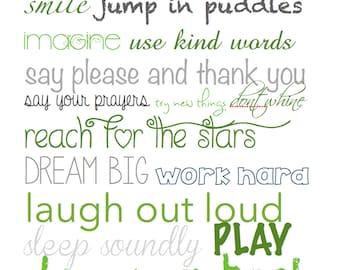 Nursery Art, Kids Rules Art, Word Art, Nursery Decoration, Playroom Decoration, Green