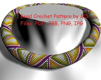 """Bead Crochet rope pattern necklace or bracelet """"Cheerful triangles""""  INSTANT DOWNLOADING"""