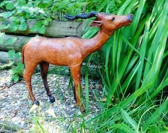 Leather Antelope Statue Sculpture Figure