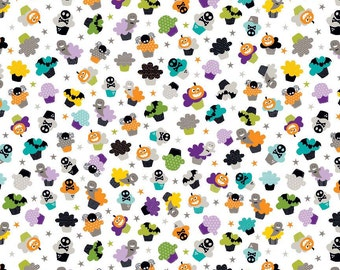 Halloween Magic Cupcakes Multi on White - Riley Blake Designs - Pumpkins - Quilting Cotton Fabric - by the yard fat quarter half