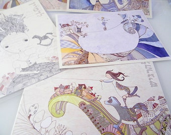 Set of 5 postcards, Fine art greeting card, printed postcard, pack of 5 with envelopes , rocking horse greeting card, wanderlust wall art