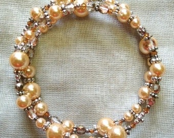 Peachy and Copper Coil Bracelet