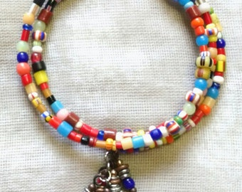 Multicolored African Glass Coil Bracelet