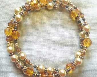Tangerine and Gold Coil Bracelet