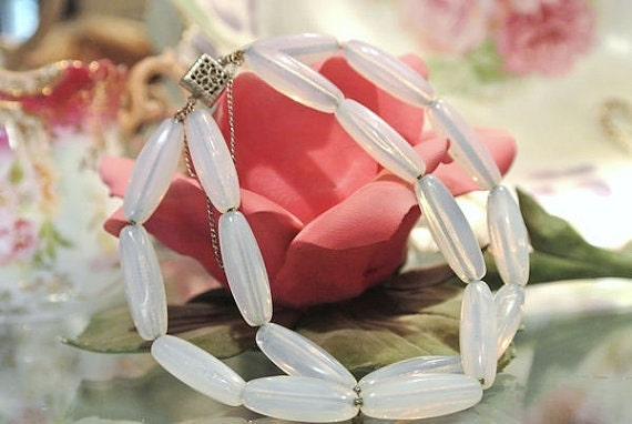 Sea Opal Glass Opalite Bracelet Double Strand Tube Tubular Bead Beaded Bracelet Box Clasp with Safety Chain Circa 1940s 1950s Opalescent