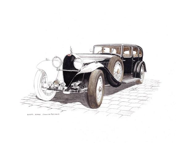 voiture ancienne bugatti royale limousine dessin aquarelle. Black Bedroom Furniture Sets. Home Design Ideas