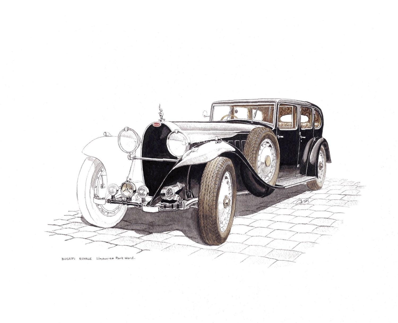 Voiture ancienne bugatti royale limousine dessin aquarelle - Dessin de voiture ancienne ...