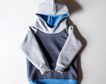 Cowl Hoodie // Blue, Gray