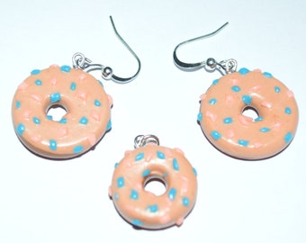 Donut earrings and charm - glazed polymer clay set