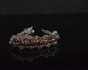 """FT158 Copper Pearl Olive Crystal Slide Bracelet, Size  7.5"""""""