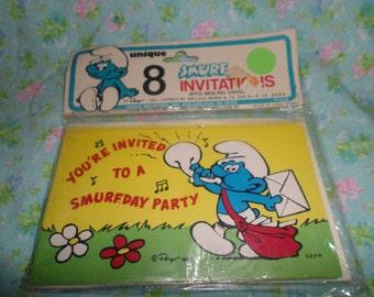 Smurfs Birthday invitations Smurfday Party  nip  8