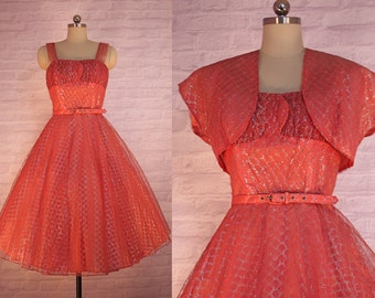 Princess Pink & Silver Tulle Dress | vintage 1950s dress | 50s Evening Attire