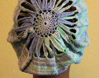 Hand Knitted Tam with Center Hand Crocheted in Shades of Blue and Green