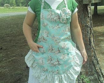 handmade aqua toile apron, ruffled apron, apron with pockets, womens apron, custom apron
