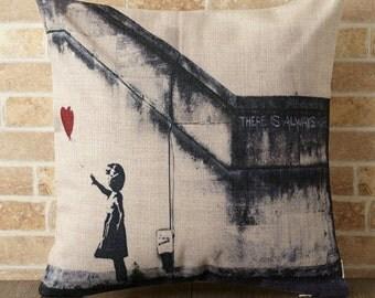 Banksy Cushion Pillow cover case made of Linen Handmade Heart balloon girl (BA034)
