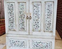 """Bespoke Shabby Chic Tudor Oak Shelved Cabinet """"Blossom"""""""