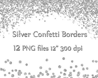"""Silver Confetti Borders: """"GLITTER CONFETTI CLIPART"""" Glitter Confetti Clip art  Silver Glitter Border Overlays High Res Instant Download"""