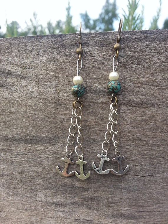 Long Nautical Anchor Dangle Earrings
