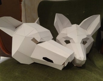 Make your own wolf mask, fox mask, Instant download, DIY masks, Printable masks, Templates
