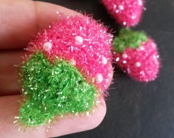 4 Pink Strawberries Charms Pendants Findings K15005