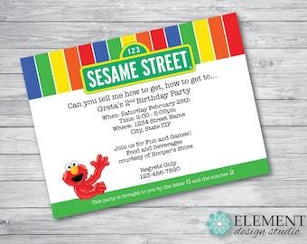 Sesame Street Theme Birthday Party Invitation