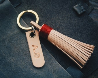 Personalized Leather Gift, Leather bagcharm, Leather Tassel Keychain, Leather name keychain, Initial charm